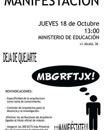 Plan de Bolonia: Concentración ante el Ministerio (Jueves 18 de Octubre)